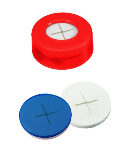 11mm Verschluss: PE Schnappringkappe, rot, mit Loch; Silicon weiß/PTFE blau, 55° shore A, 1,0mm, kreuzgeschlitzt