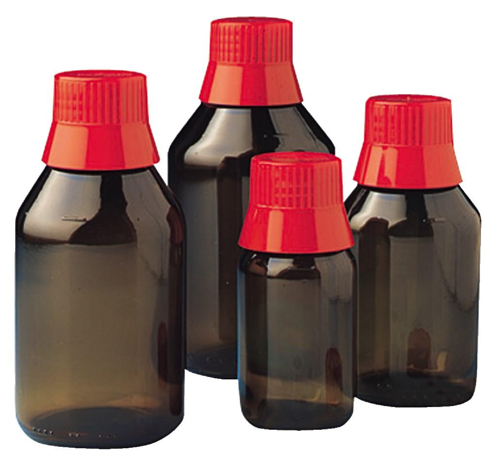 1000ml APONORM® Medizin-Flaschen, Enghalsflaschen braun mit Ausgießring und rotem Verschluß, Nenngröße 1000ml, VE: 6 Stück