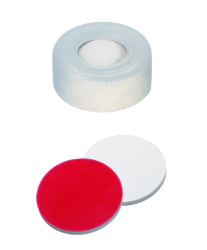11mm PE- Schnappringkappe, transparent, 5mm Loch; 11mm Scheibe Silicon weiß/ PTFE rot, 40 shore A, 1,0mm