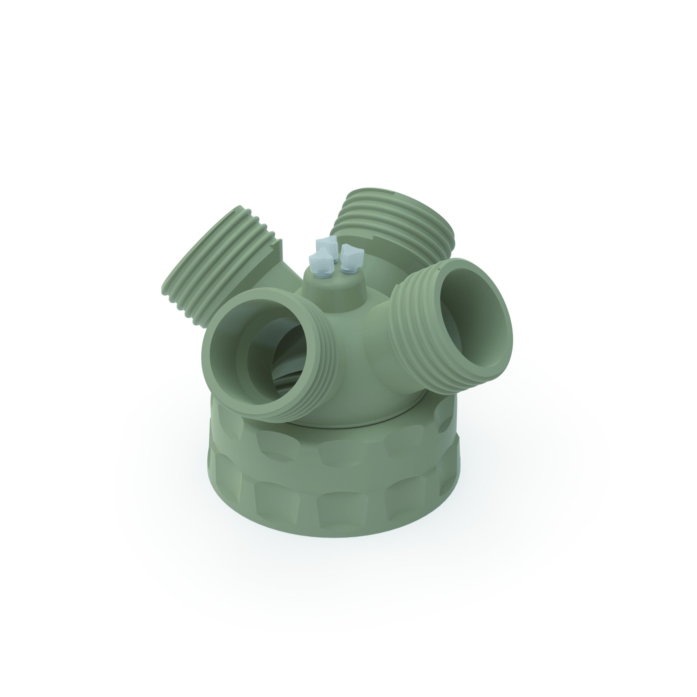 Spülflaschenverteiler  Schraubkappe aus PPS für Gewinde GL45 / PP für Gewinde GLS 80, frei drehbarer Einsatz a