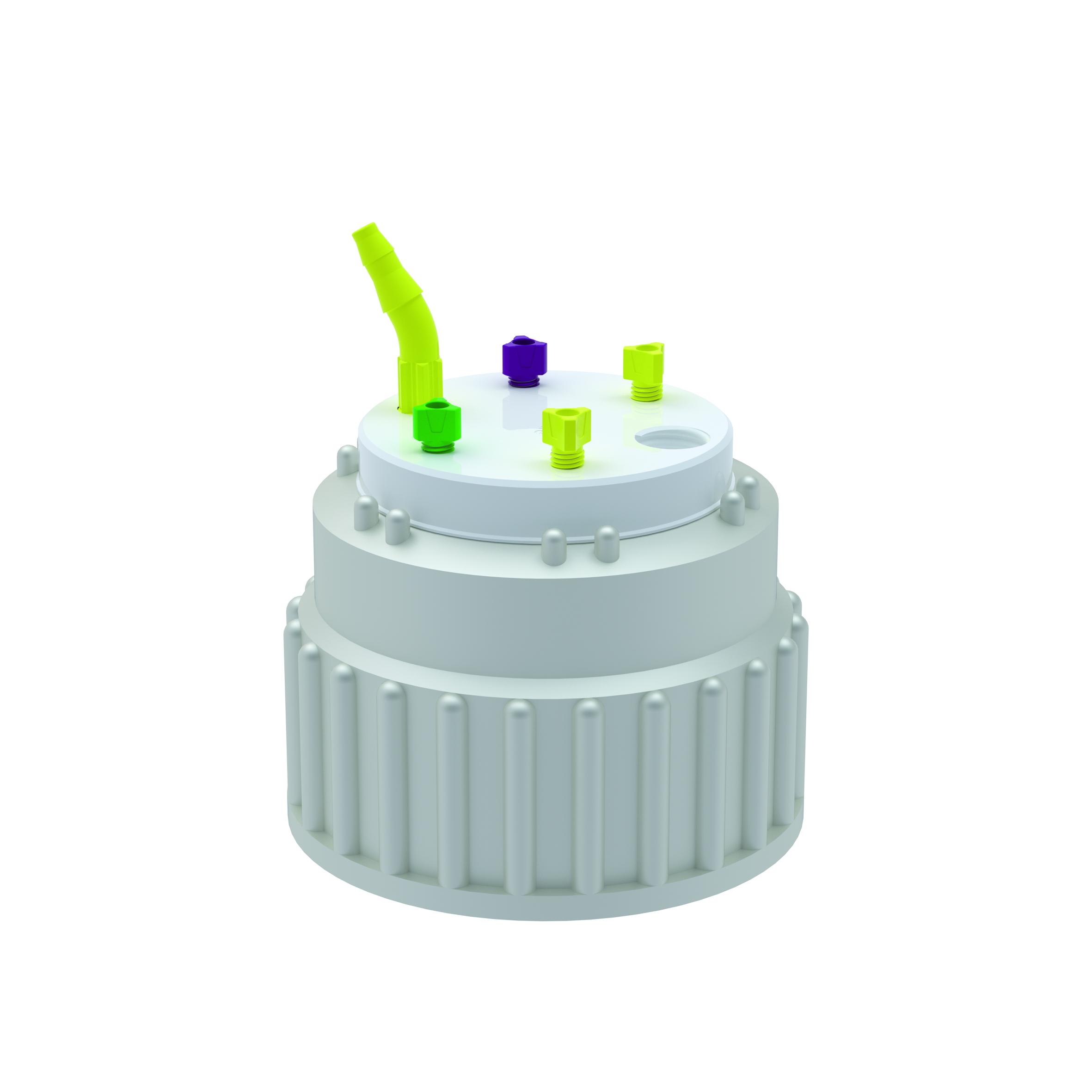 Waste Cap B83  Schraubkappe aus PE für Gewinde B83, frei drehbarer Einsatz aus PTFE. Mit PFA-Fittings für Kapi