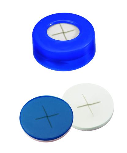 11mm Verschluss: PE Schnappringkappe, blau, mit Loch; Silicon weiß/PTFE blau, 55° shore A, 1,0mm, kreuzgeschlitzt