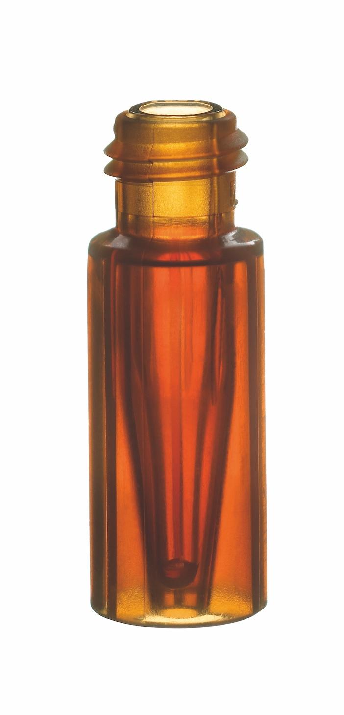 -Kurzgewindeflasche, 32x11,6, Braunglas, mit integriertem 0,2ml Glas-Mikroeinsatz, 15mm Spitze