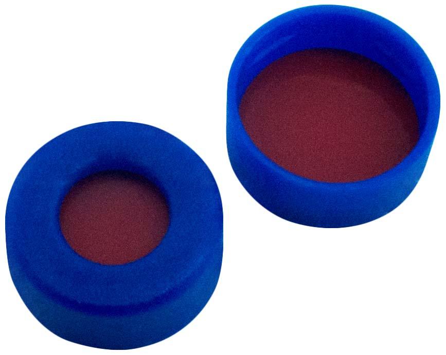 11mm PE- Schnappringkappe, blau, 5mm Loch; 11mm Scheibe, RedRubber/ PTFE transparent, 1,0mm