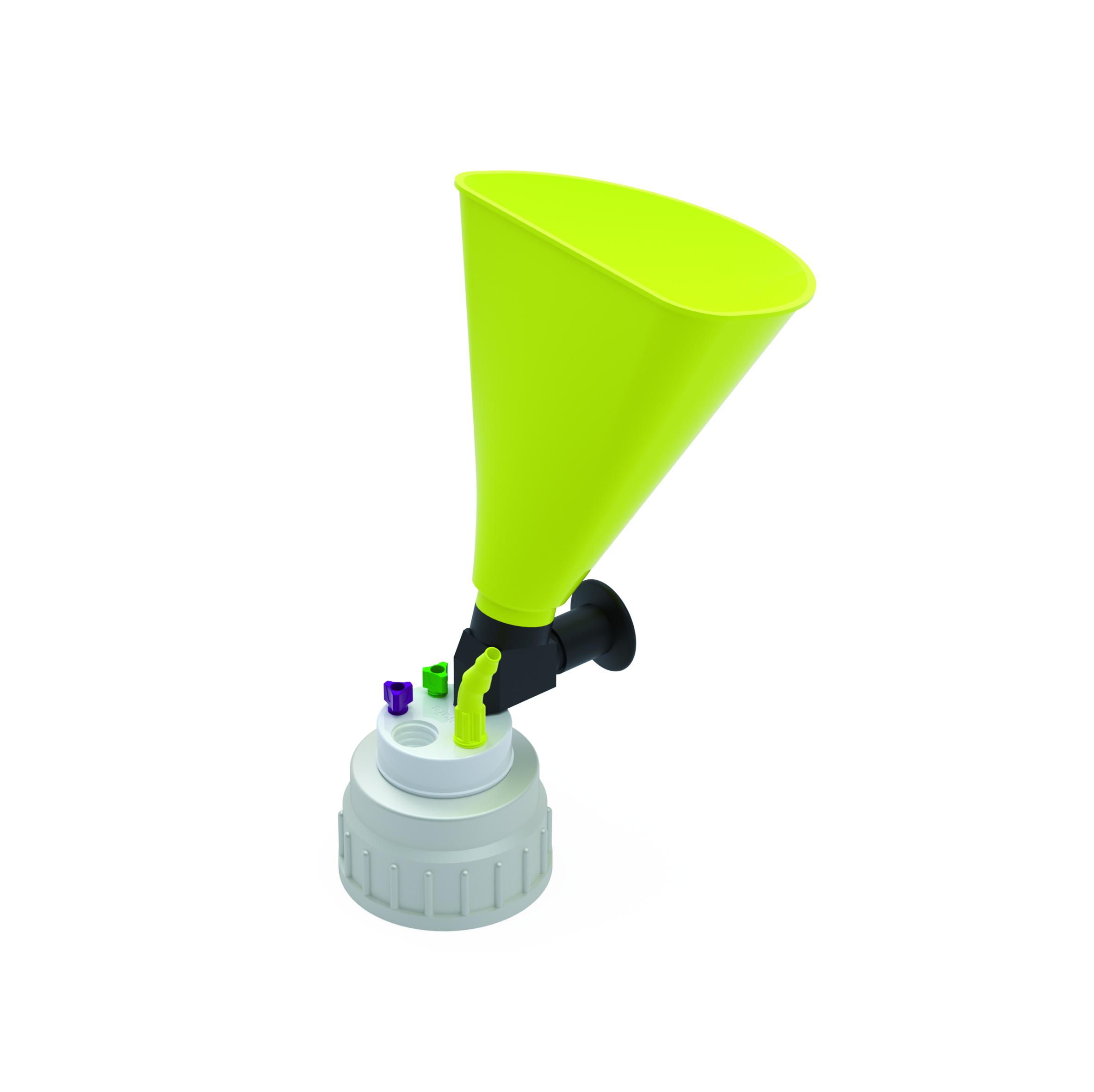 Waste Cap B53 mit Einfülltrichter  Schraubkappe aus PE für Gewinde B53, frei drehbarer Einsatz aus PTFE. Mit P