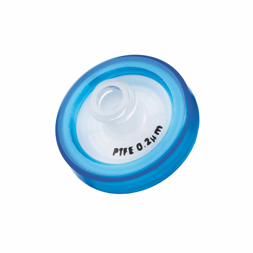 17mm HPLC Spritzenfilter, PTFE, Porengröße 0,2µm, Randumspritzung blau + Druck der Membrantype
