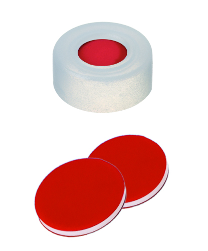 11mm PE- Schnappringkappe, transparent, 5mm Loch; 11mm Scheibe, PTFE rot/ Silicon weiß/ PTFE rot, 40 shore A, 1,0mm