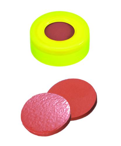 11mm Verschluss: PE Schnappringkappe, gelb, mit Loch; Naturkautschuk rot-orange/TEF transparent,60° shore A, 1,0mm