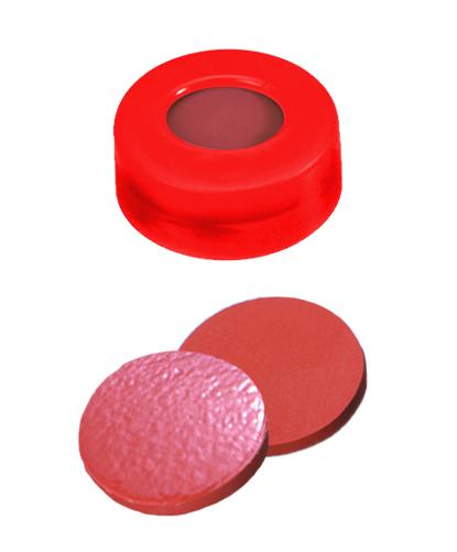 11mm Verschluss: PE Schnappringkappe, rot, mit Loch; Naturkautschuk rot-orange/TEF transparent, 60° shore A, 1,0mm