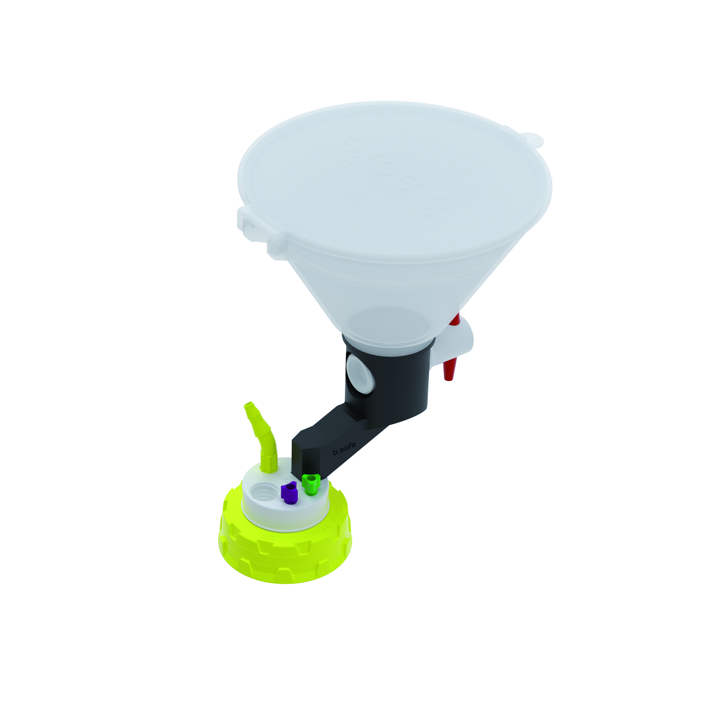 Waste Cap S55 mit Einfülltrichter  Schraubkappe aus PP für Gewinde S55, frei drehbarer Einsatz aus PTFE. Mit P