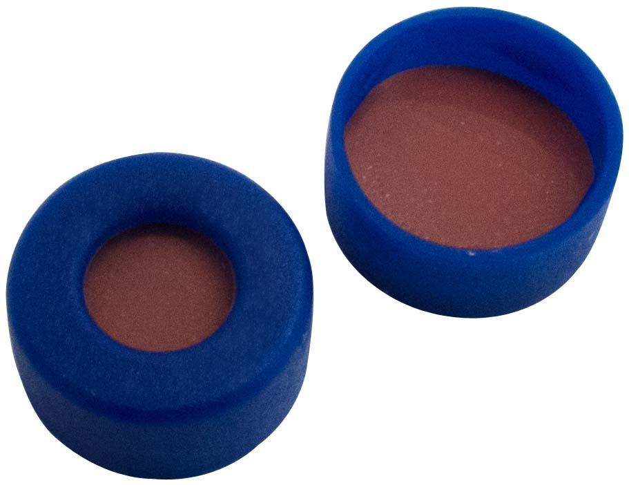 11mm Verschluss: PE Schnappringkappe, blau, mit Loch, weiche Version; Naturkautschuk rot-orange/TEF transparent, 60° shore A, 1,0mm