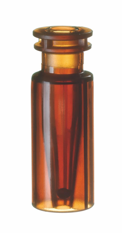 Schnappringflasche, 32 x 11,6mm, braun, mit integriertem silanisiertem 0,2ml Glas-Mikroeinsatz, 15mm Spitze (>>> silanisiert