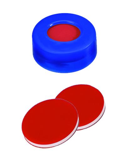 11mm Verschluss: PE Schnappringkappe, blau, mit Loch; PTFE rot/Silicon weiß/PTFE rot, 45° shore A, 1,0mm