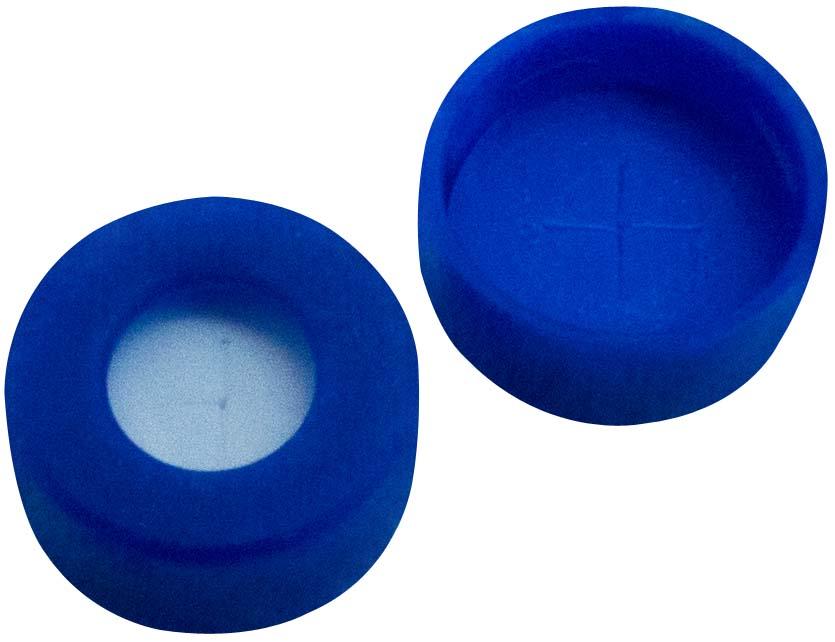11mm Verschluss: PE Schnappringkappe, blau, mit Loch, weiche Version; Silicon weiß/PTFE blau, 55° shore A, 1,0mm, kreuzgeschlitzt