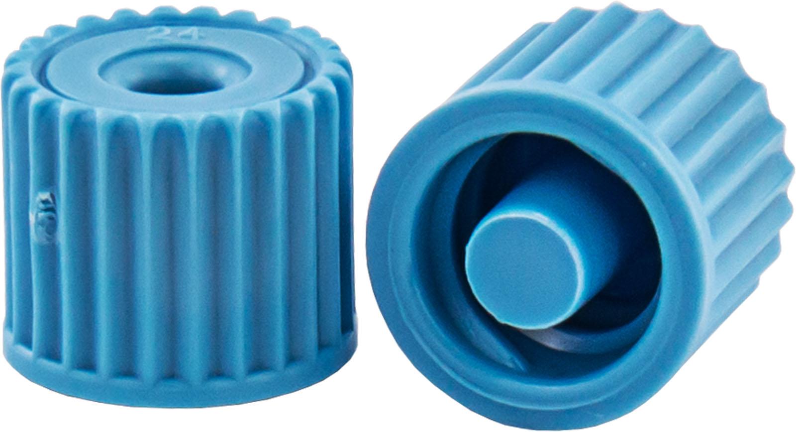 Chromab. Luer-Stopfen f. Vakuumk., blau