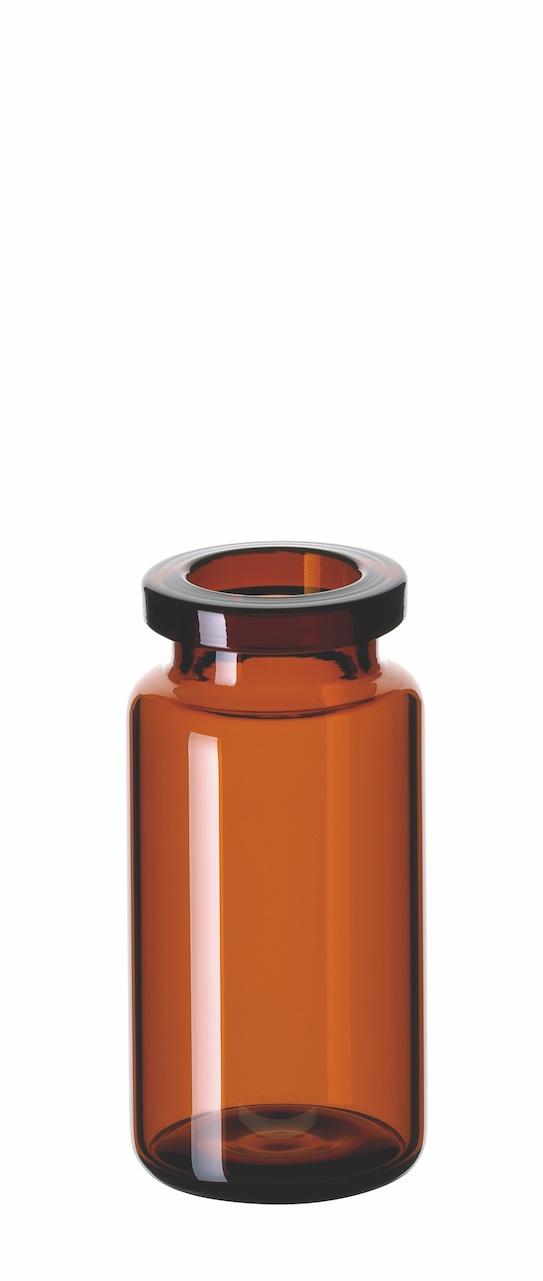 10ml Headspace-Flasche, 46 x 22,5mm, Braunglas, 1. hydrol. Klasse, mit DIN-Rollrand, gerundeter Boden