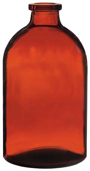 100ml Injektionsflasche, 51,6 x 94,5mm, Halsdurchmesser 20, 1. Klasse-Glas, Braunglas, nach DIN/ISO, (Hüttenglas); (VE = 88 Stück)