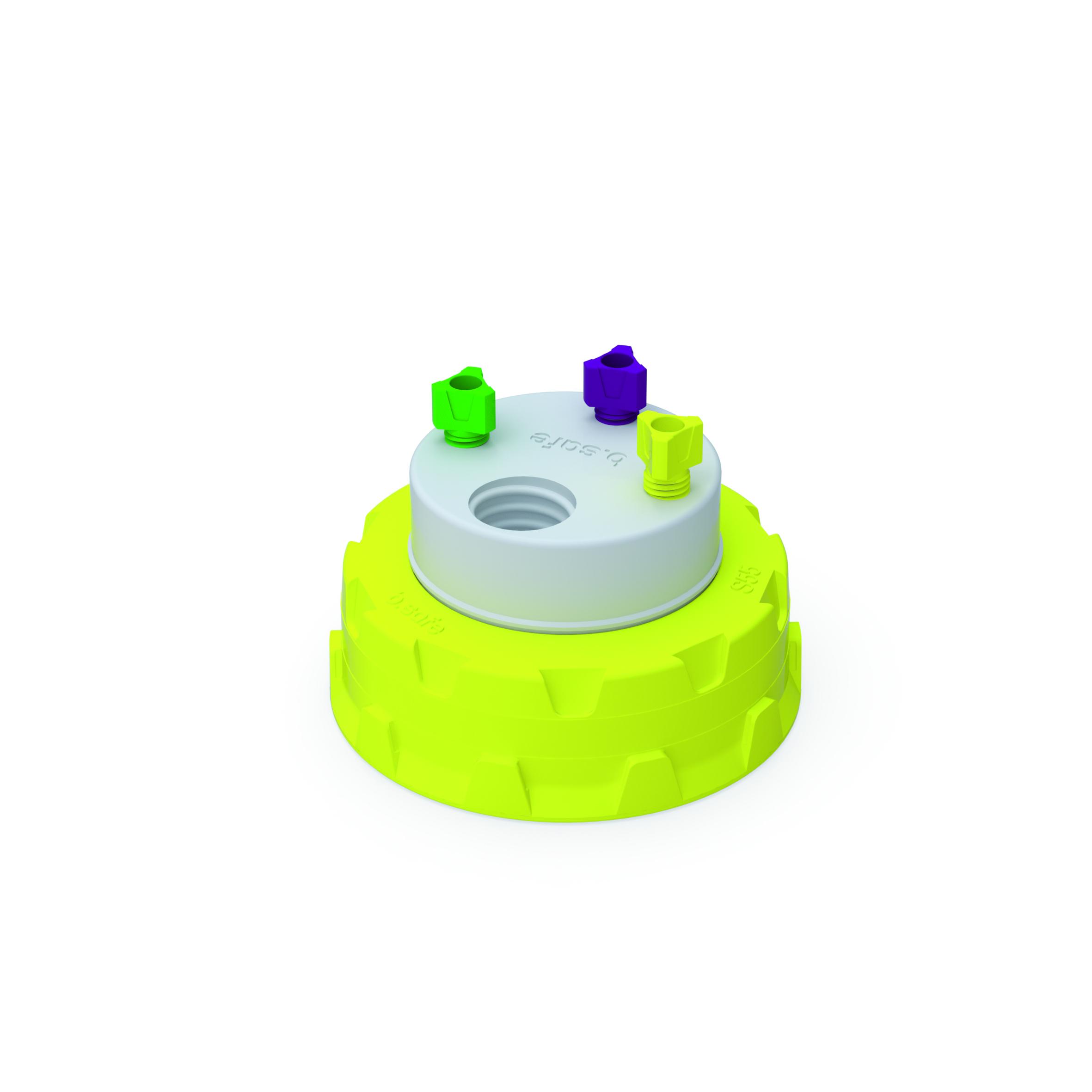 Waste Cap S55  Schraubkappe aus PP für Kanistergewinde S55, frei drehbarer Einsatz aus PTFE. Mit PFA-Fittings