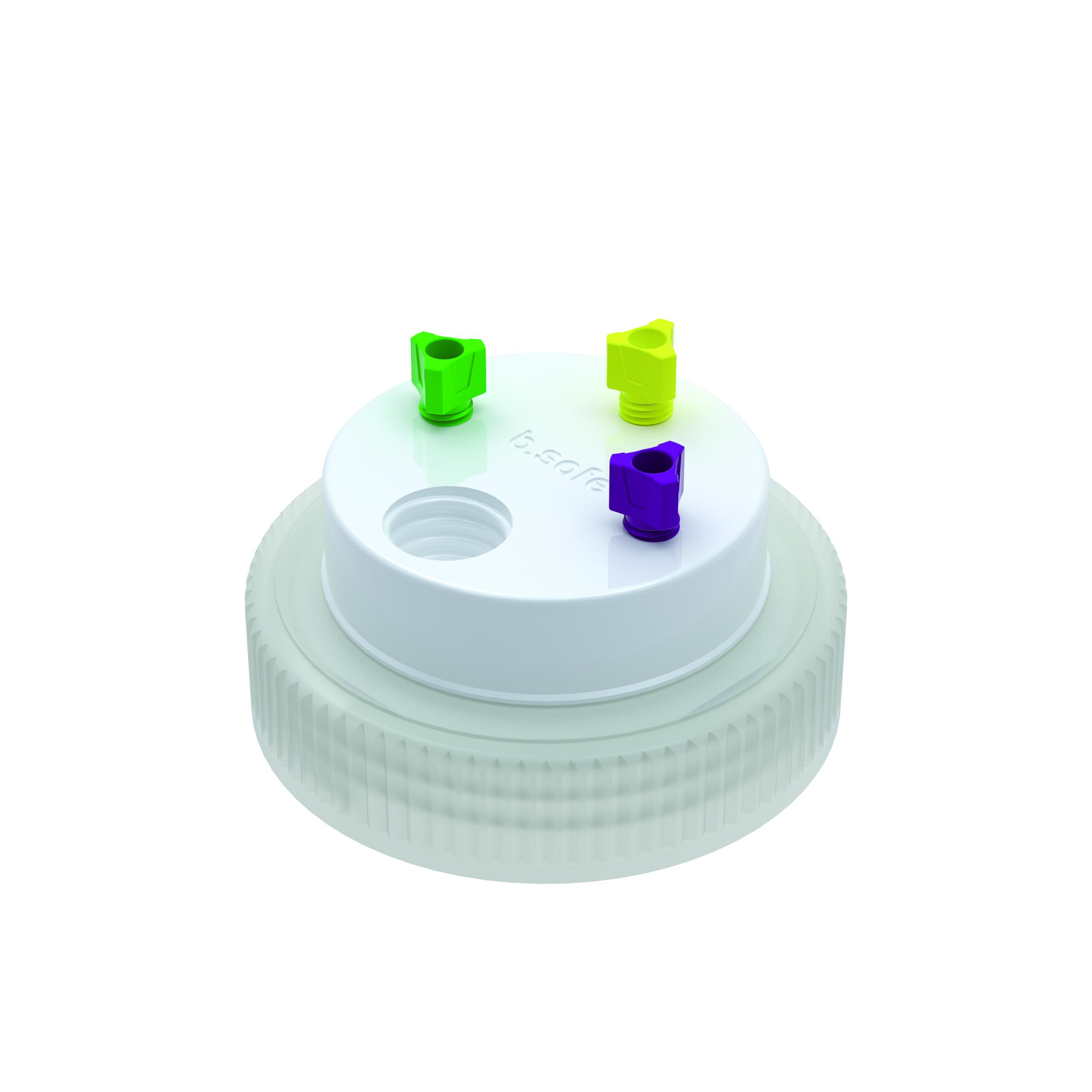 Waste Cap B63  Schraubkappe aus PE für Gewinde B63, frei drehbarer Einsatz aus PTFE. Mit PFA-Fittings für Kapi