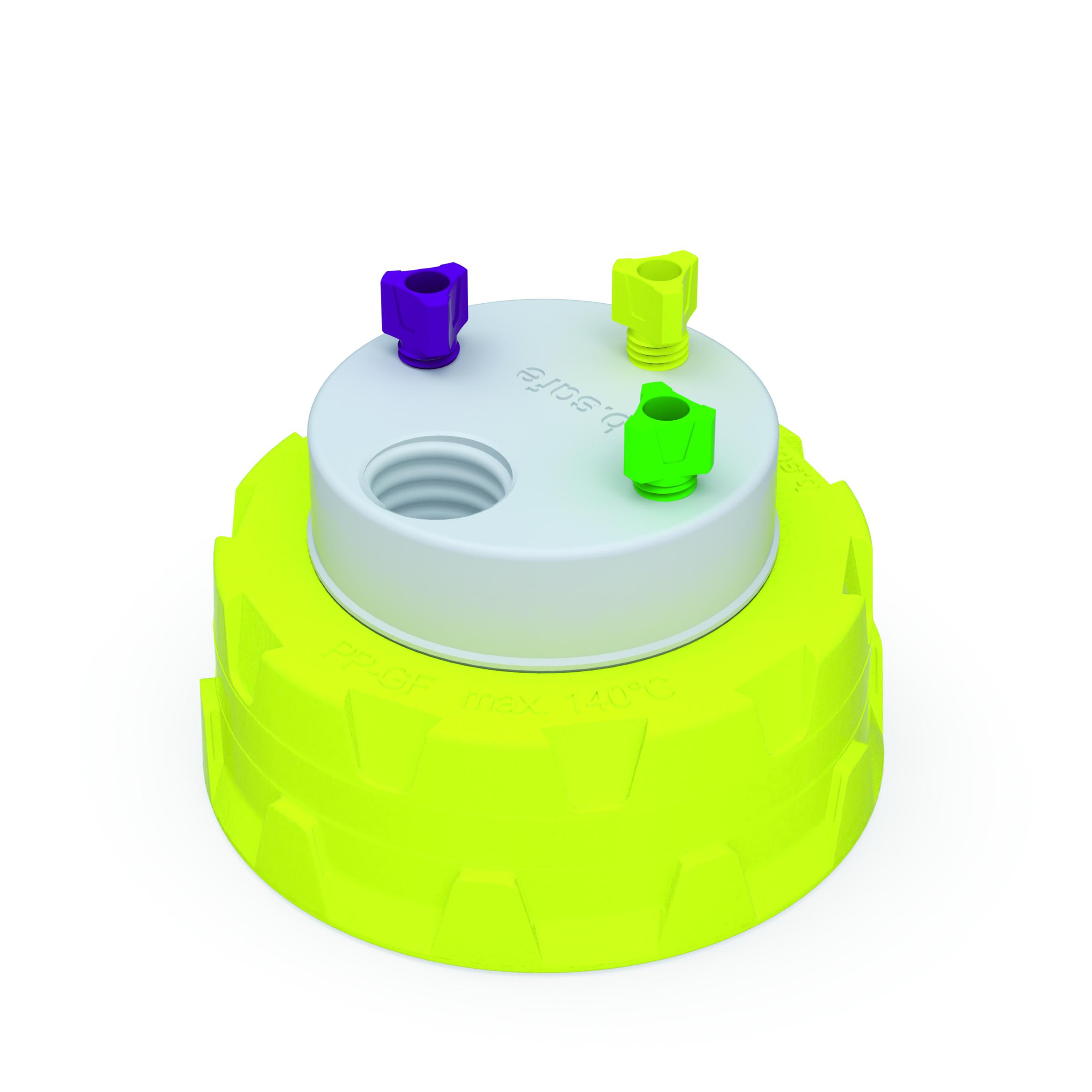 Waste Cap S60  Schraubkappe aus PP für Gewinde S60, frei drehbarer Einsatz aus PTFE. Mit PFA-Fittings für Kapi