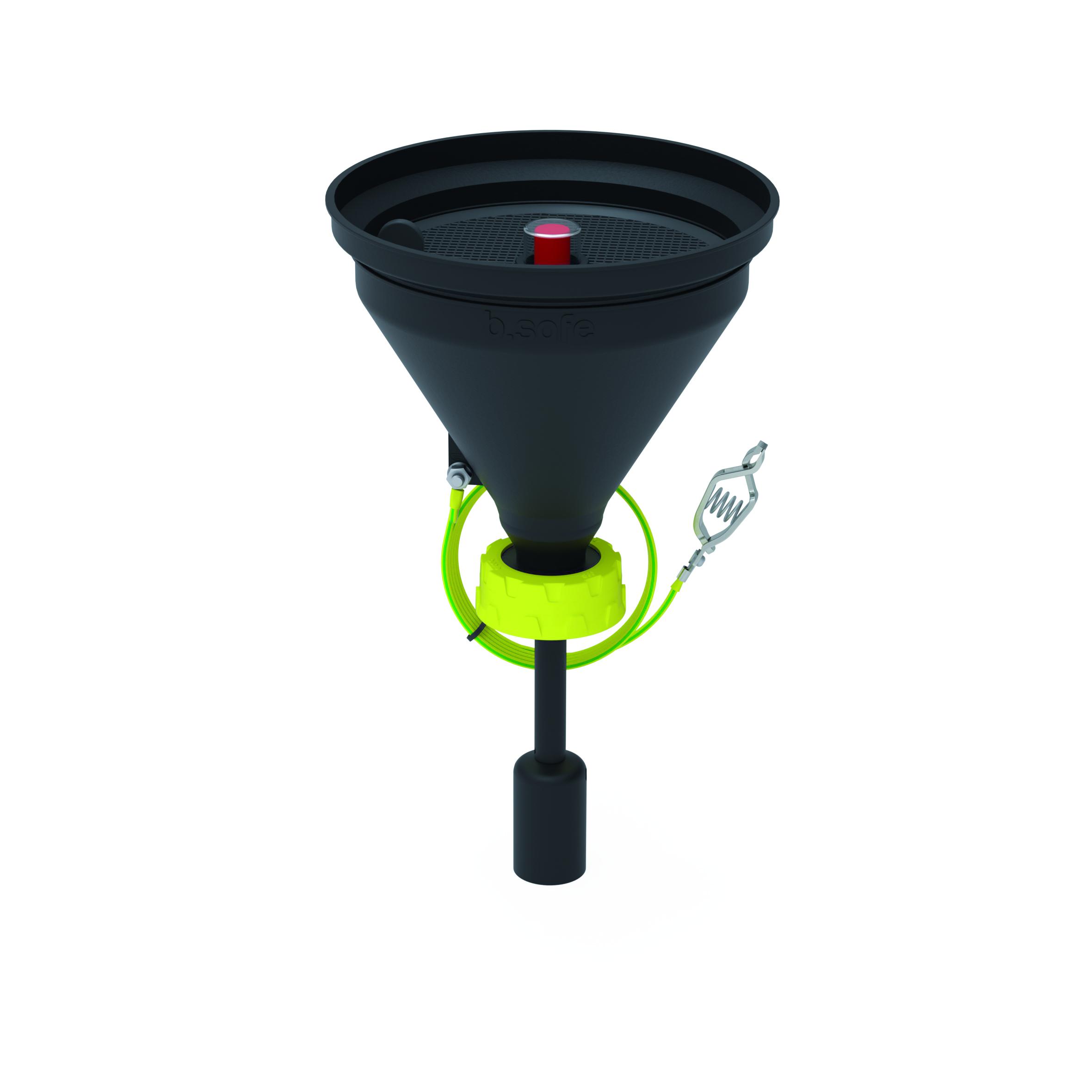 Trichter 180 mit Füllstandskontrolle  Trichter aus ableitfähigem PE-EX zur Entsorgung von flüssigen Abfällen.