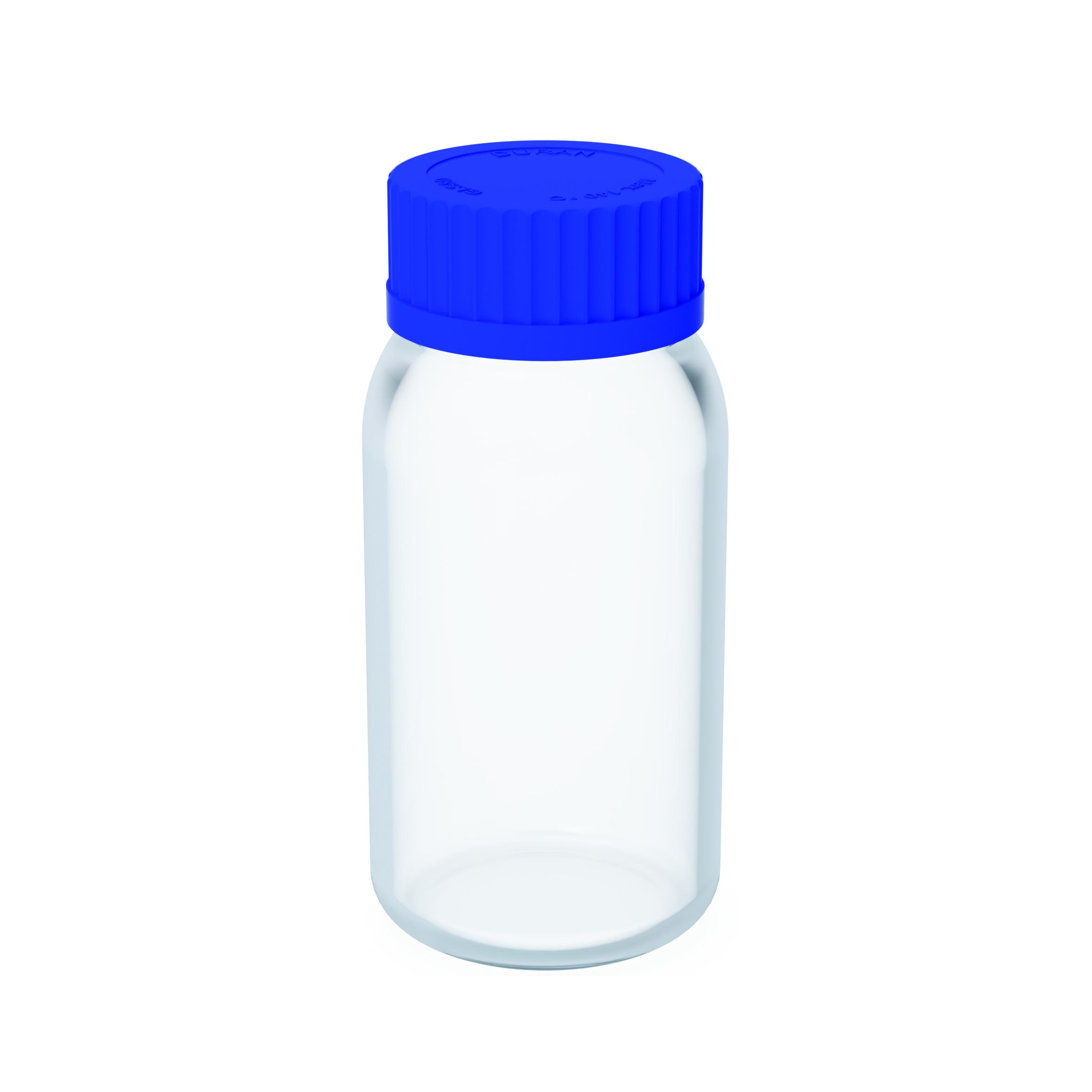 Laborflaschen  Laborglasflasche aus Borosilikatglas inklusive Verschlusskappe und Ausgießring aus PP. Verpacku
