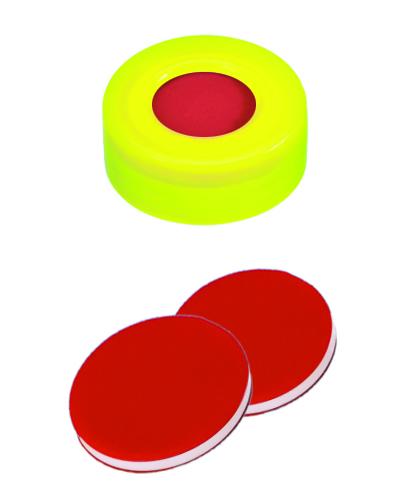 11mm Verschluss: PE Schnappringkappe, gelb, mit Loch; PTFE rot/Silicon weiß/PTFE rot, 45° shore A, 1,0mm