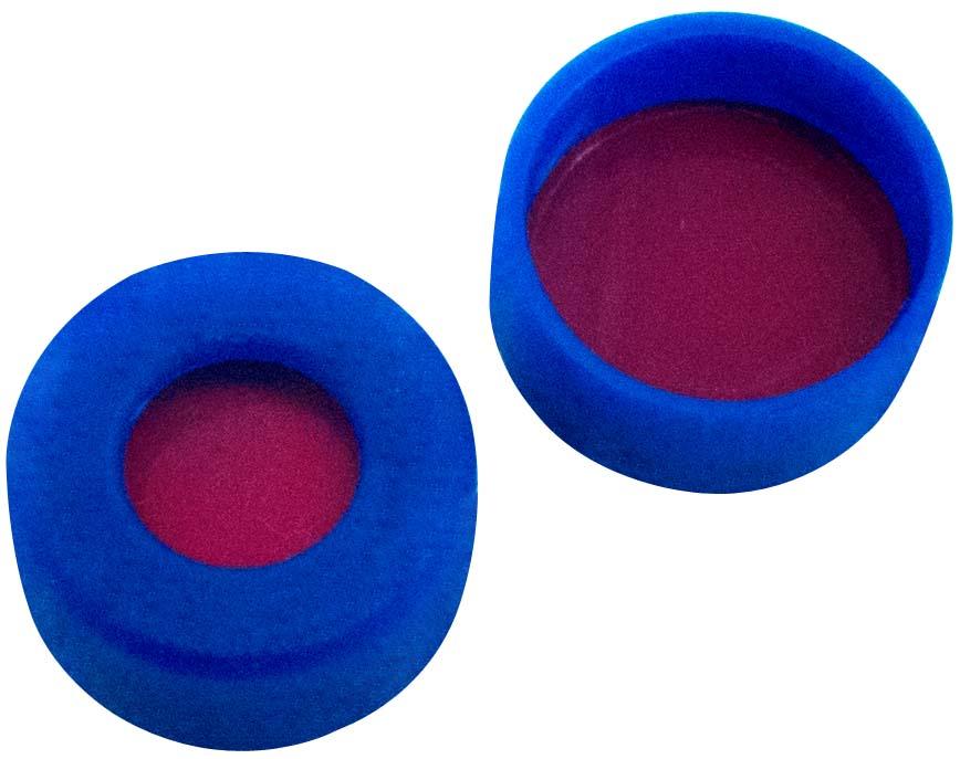 11mm Verschluss: PE Schnappringkappe, blau, mit Loch, weiche Version; PTFE rot/Silicon weiß/PTFE rot, 45° shore A, 1,0mm