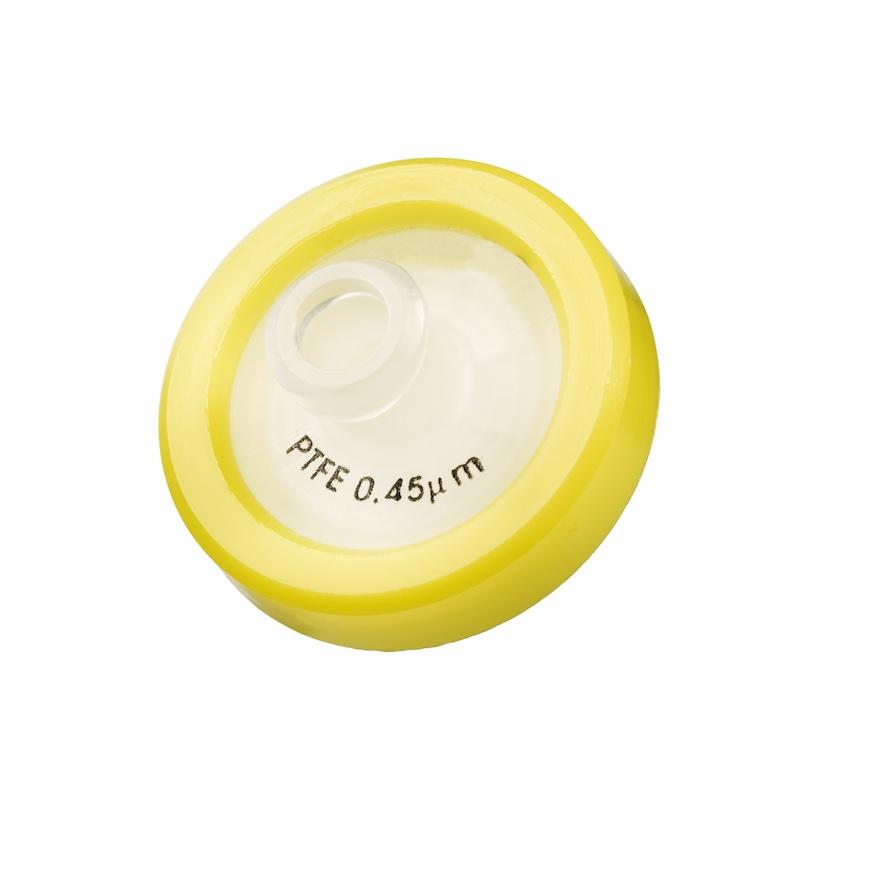 17mm HPLC Spritzenfilter, PTFE, Porengröße 0,45µm, Randumspritzung gelb + Druck der Membrantype