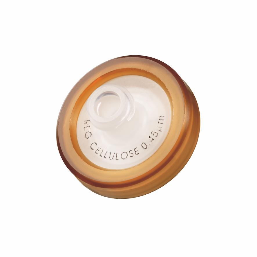 17mm HPLC Spritzenfilter, Regenerierte Cellulose (RC), Porengröße 0,45µm, Randumspritzung braun + Druck der Membrantype