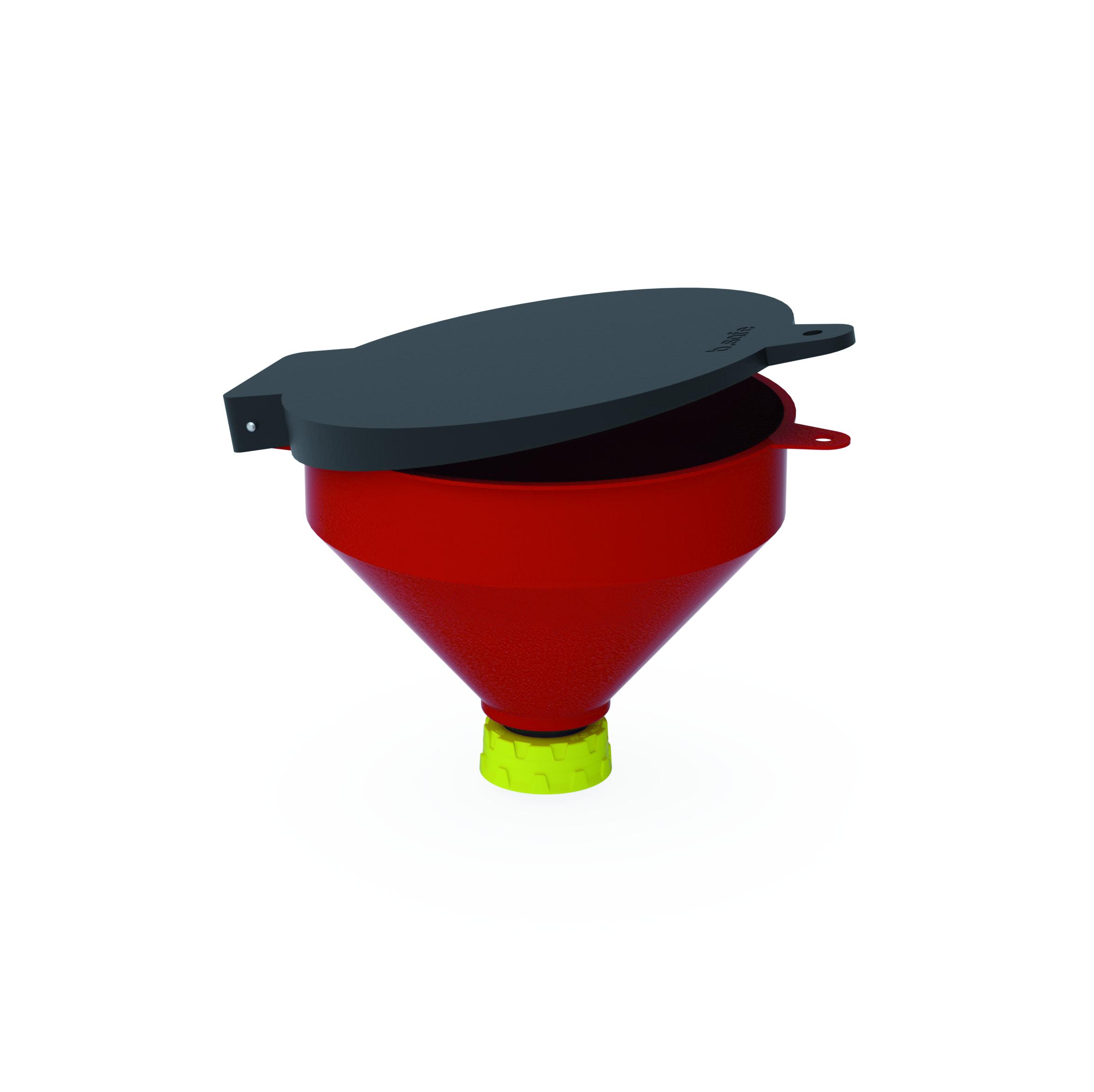 Trichter 250  Trichter aus PE zur Entsorgung von flüssigen Abfällen. Mit dem Gewindeanschluss, der fest mit de