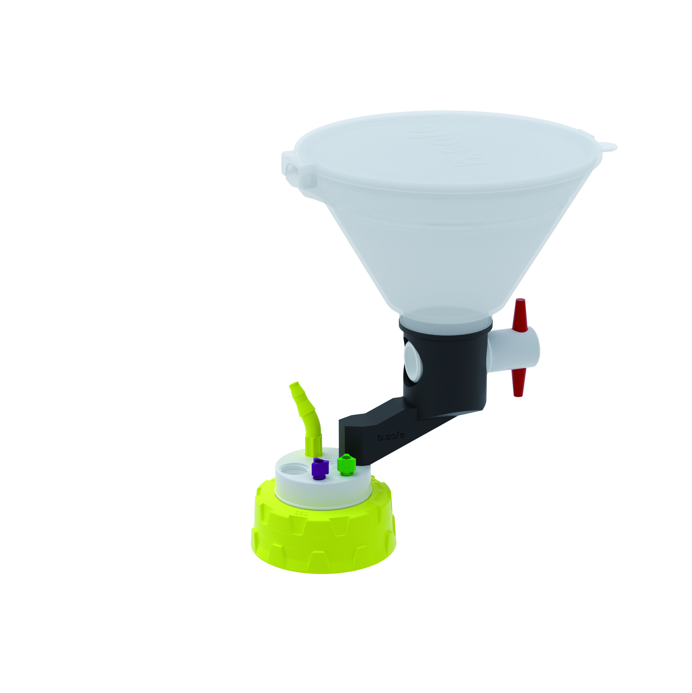 Waste Cap S60 mit Einfülltrichter  Schraubkappe aus PP für Gewinde S60, frei drehbarer Einsatz aus PTFE. Mit P