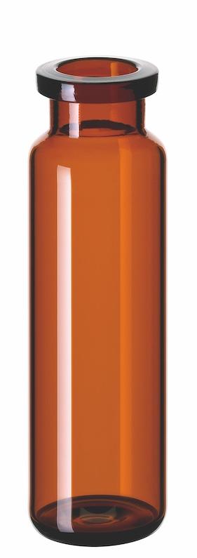 20ml Headspace-Flasche, 75,5 x 22,5mm, Braunglas, 1. hydrol. Klasse, mit DIN-Rollrand, gerundeter Boden