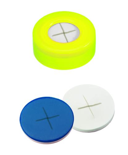 11mm Verschluss: PE Schnappringkappe, gelb, mit Loch; Silicon weiß/PTFE blau, 55° shore A, 1,0mm, kreuzgeschlitzt