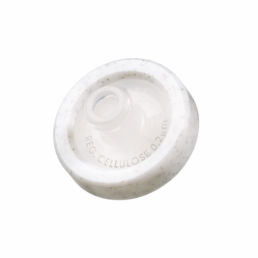 17mm HPLC Spritzenfilter, Regenerierte Cellulose (RC), Porengröße 0,2µm, Randumspritzung grau + Druck der Membrantype