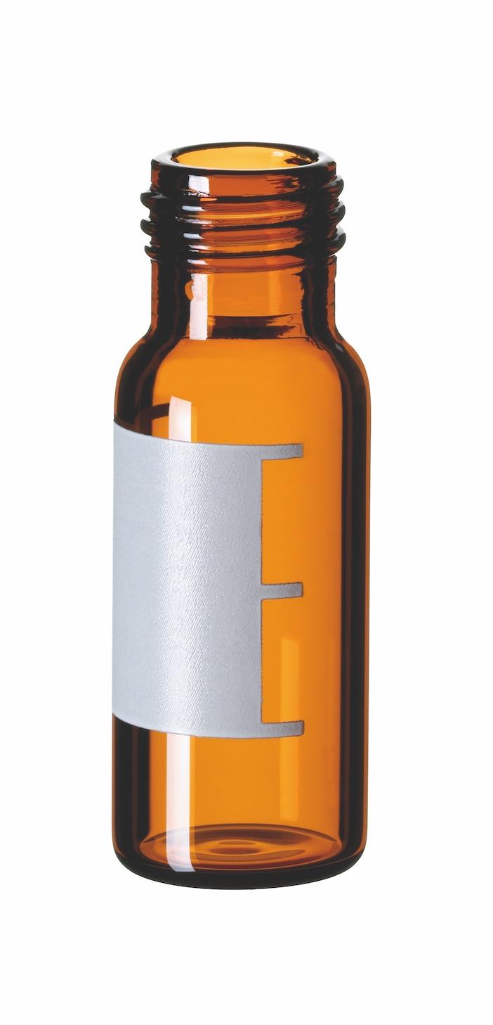 1,5ml Kurzgewindeflasche, 32x11,6mm, braun, 1.hydr. Klasse, w. Öffnung, Schriftfeld u. Füllmarkierung