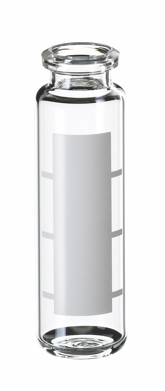 20ml Headspace-Flasche, gerundeter Boden, abgeschrägter Rand, 75,5 x 23mm, Klarglas, 1. hydr. Klasse, mit Schriftfeld und Füllmarkierungen