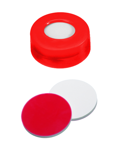 UltraClean Verschluss: 11mm PE Schnappringkappe, rot, mit Loch; Silicon weiß/PTFE rot, 45° shore A, 1,3mm